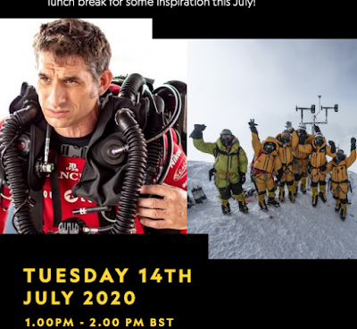 Nat Geo advert with photos of explorer dressed for arctic expedition