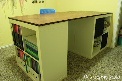Custom Craft table out of Ikea Expedit shelves