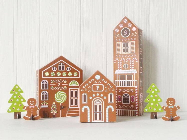 gingerbread house christmas village advent calendar