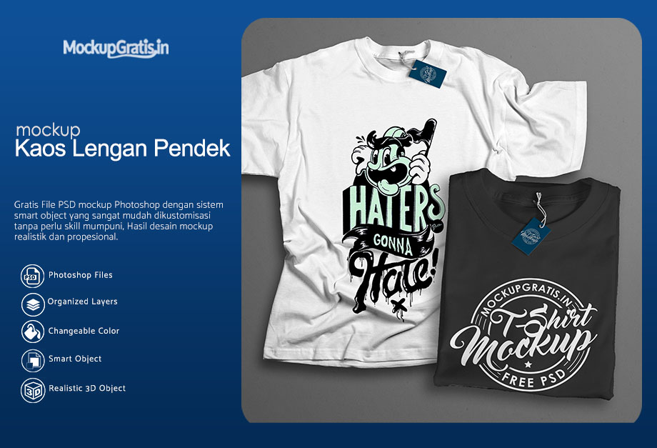 Download PSD Mockup Kaos Lengan Pendek