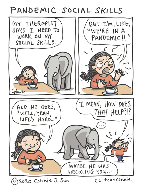 Comic about self-improvement in a pandemic, social skills, and going to therapy. Elephant comic strip illustration by connie sun, cartoonconnie