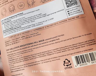 Ingredients Halloasis Brightening Hill Sheet Mask
