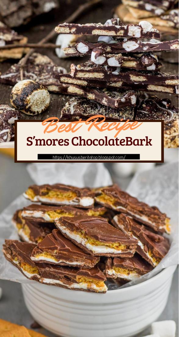 S'mores ChocolateBark #desserts #cakerecipe #chocolate #fingerfood #easy