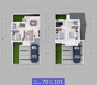 Denah rumah minimalis type 70 2 lantai