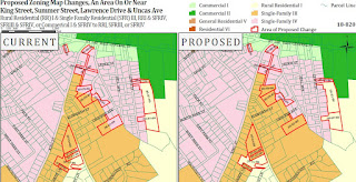part of the zoning change proposal map showing current and proposed