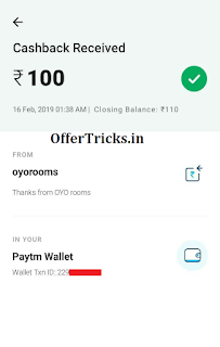 OYO App 100 Paytm Cashback Payment Proof