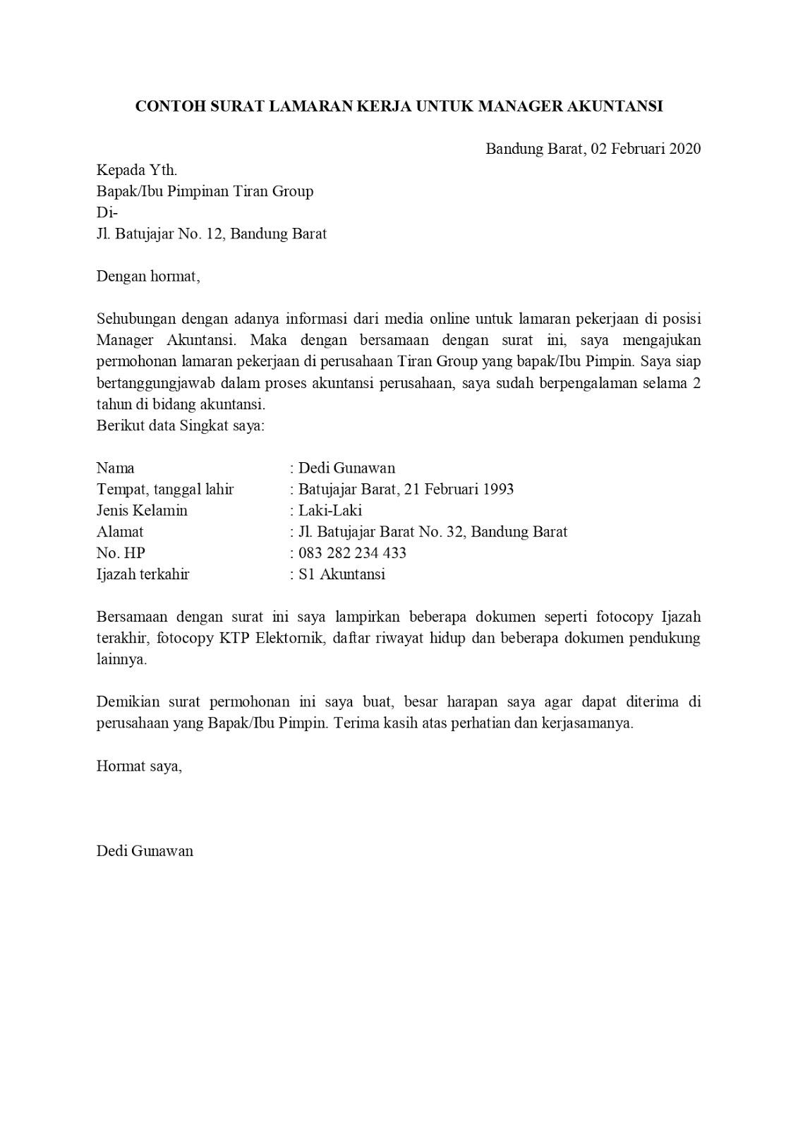 Contoh Surat Lamaran Pekerjaan Untuk Manajemen Tanpakoma