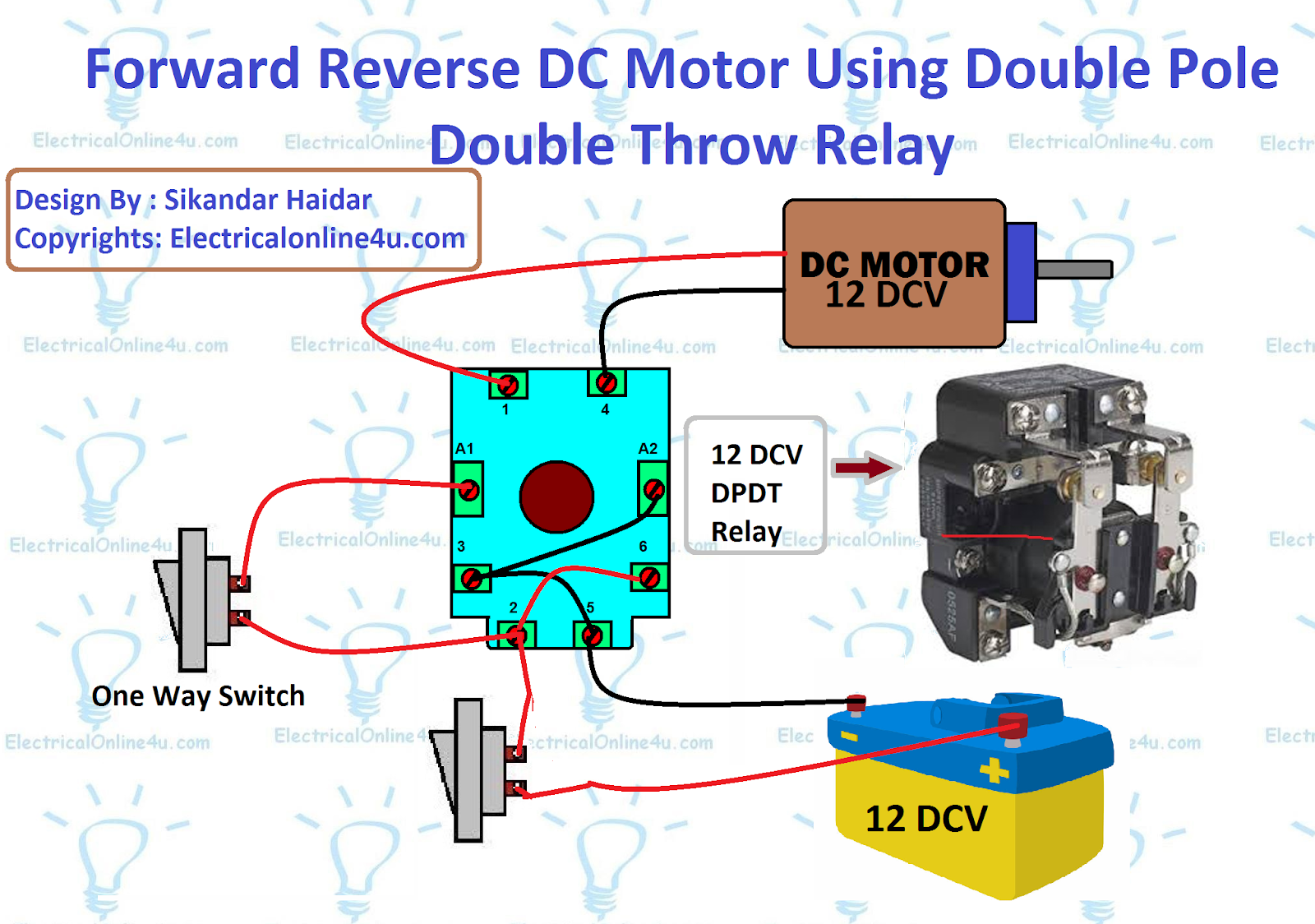 [SCHEMATICS_44OR]  Forward Reverse DC Motor Using Relay - Electricalonline4u | 12 Volt Double Pole Double Throw Relay Wiring Diagram |  | Electricalonline4u
