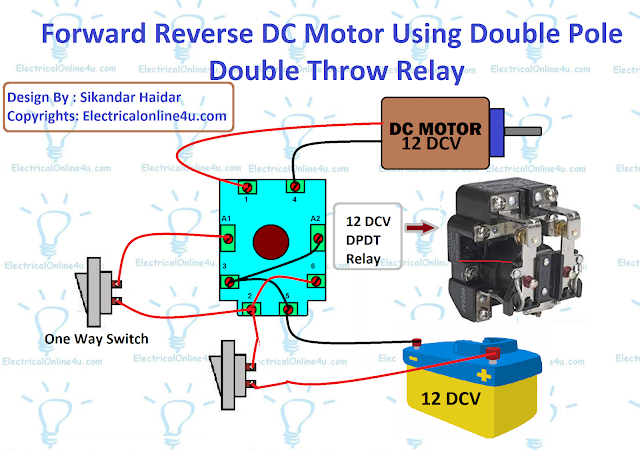 forward reverse dc motor using relay