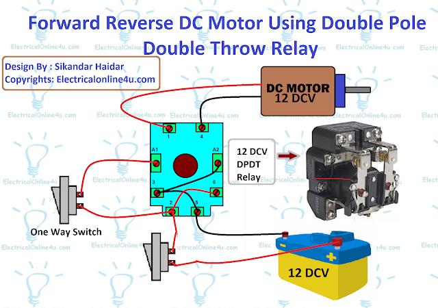 forward reverse dc motor using relay
