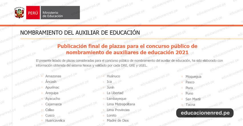 MINEDU: Publicación final de plazas para Nombramiento de Auxiliares de Educación 2021 [ACTUALIZADO 9 SETIEMBRE]