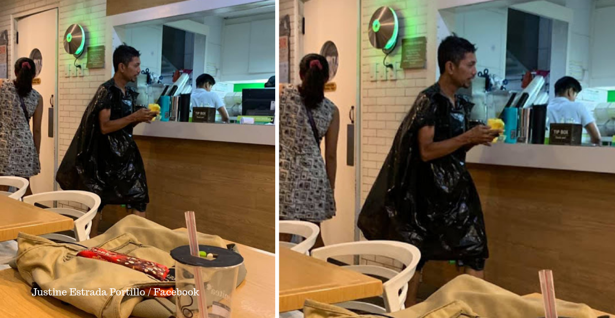 Netizen Takes Pity on GrabFood Driver Who Had to Wear Garbage Bag as Raincoat