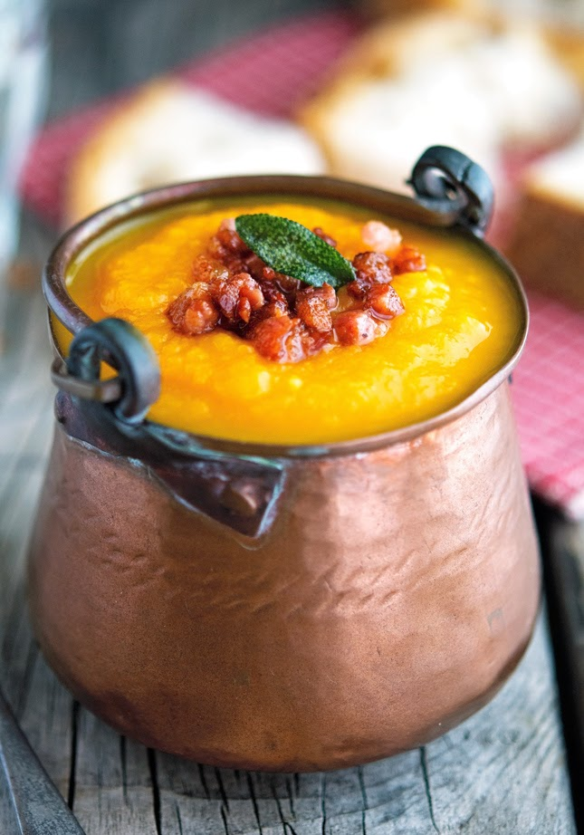 Pumpkin and Carrot Soup with Crispy Pancetta and Fried Sage