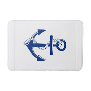 Blue anchor bath mat