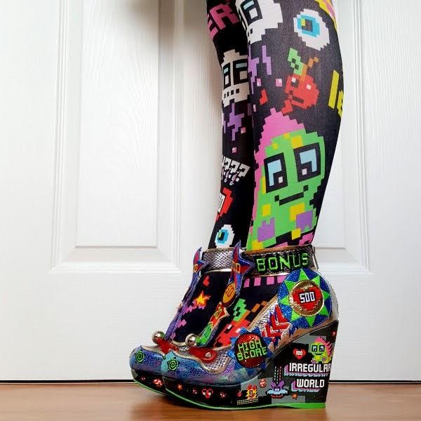 wearing pixel game themed wedge platform shoes