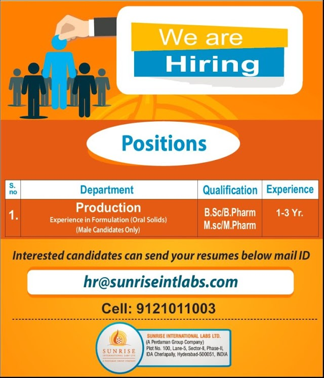 SunRise Intl labs | Hiring 1-3 years Expd in Production | Send CV