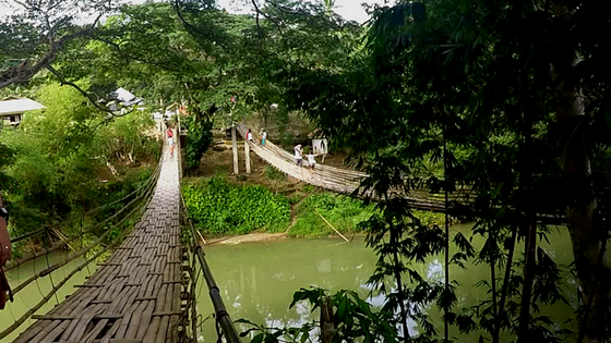 Crossing the Hanging Bridge in Sevilla Bohol Exotic Philippines Travel Blog Blogger Vlogger Vlog
