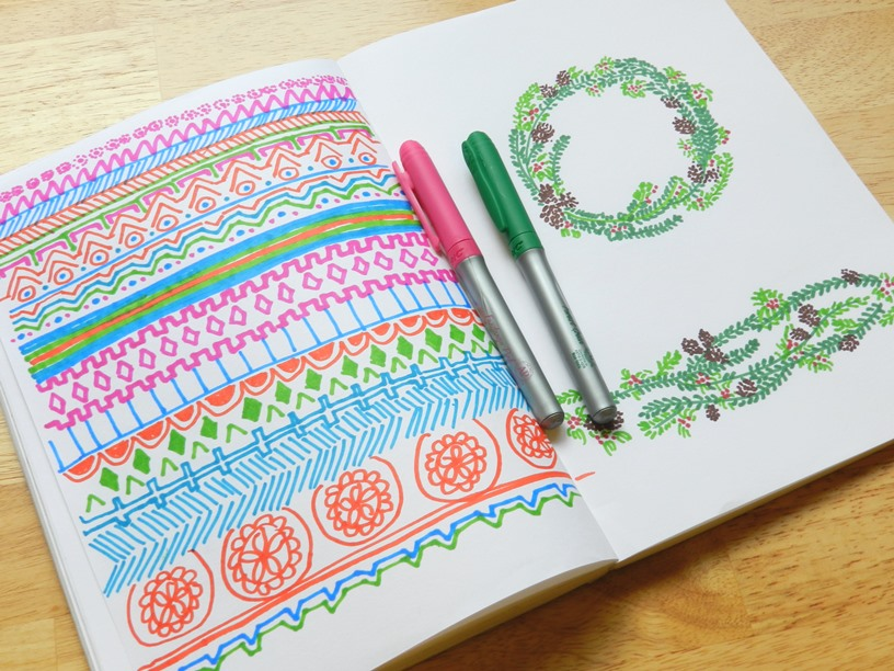 Colorful Aztec Design and Christmas Wreath Sketches: Grow Creative