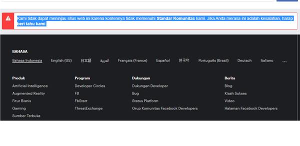 domain diblokir facebook