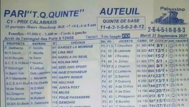 programme quinté Pronostic quinté Mardi 21/09/2021