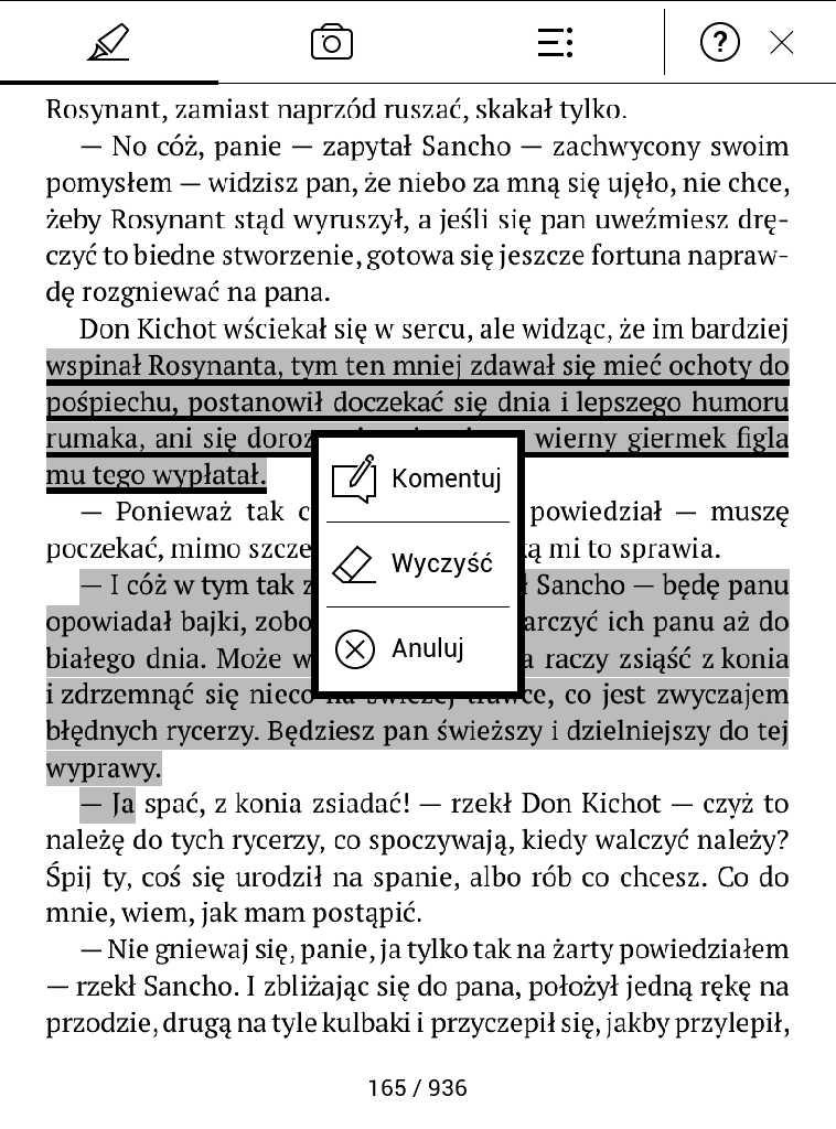 PocketBook Aqua 2 – menu kontekstowe po dotknięciu zaznaczenia w trybie notatki