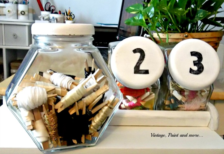 Vintage, Paint and more... vintage canister set used as ribbon storage, organization, chalk paint