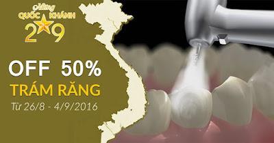 khuyến mãi giảm giá trám răng nhân dịp quốc khánh 2-9