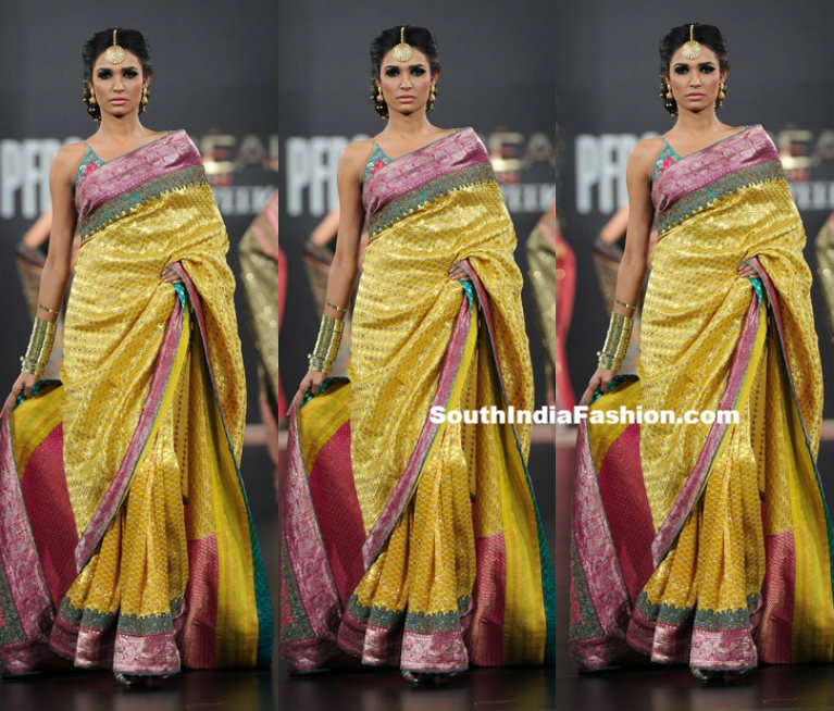 Model In Yellow Traditional Saree