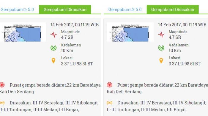 Jumat (10/2/2017) Dinihari Gempa Kembali Mengguncang Kota Medan