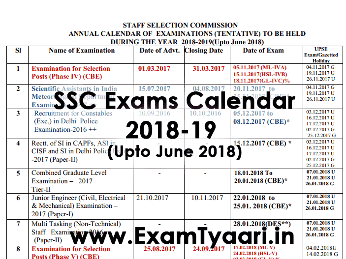 ssc annual exam calendar 2018 2019 pdf download exam tyaari