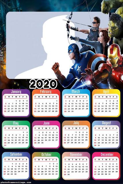 Los Vengadores: Calendario 2020 para Imprimir Gratis