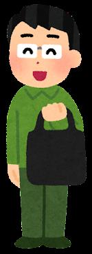 エコバッグを持つ大家族のイラスト(男性)