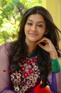Actress Pooja Jhaveri Latest Stills in Purple Salwar Kameezt at Dwaraka Success Meet  0194.JPG