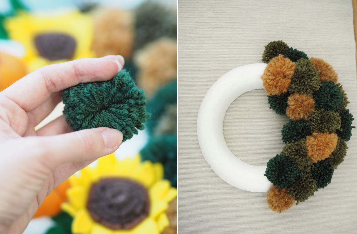 How to make an autumn wreath from felt flowers and woollen yarn pom poms. DIY tutorial for an easy, simple craft you can make yourself. Fall wreath perfect for your front door this season.
