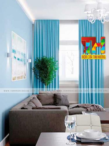 Rèm vải cửa sổ giá rẻ màu xanh sang trọng tại Long Khánh
