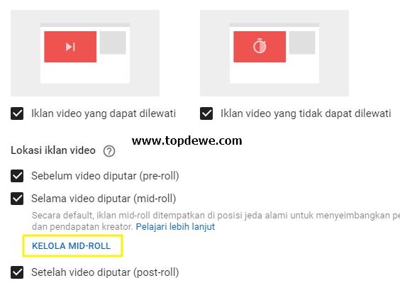 Cara setting jeda iklan midroll youtube