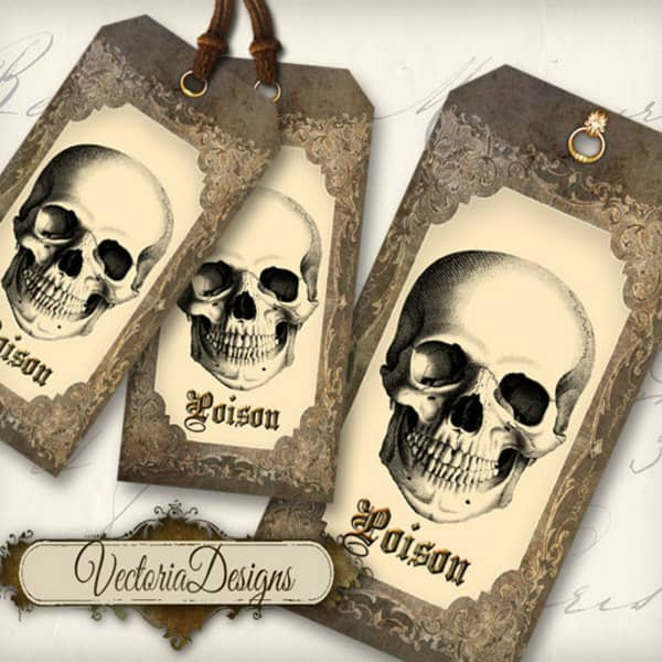 paper tags with image of skeleton head labeled Poison