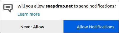 مربع حوار خيارات إخطارات Snapdrop