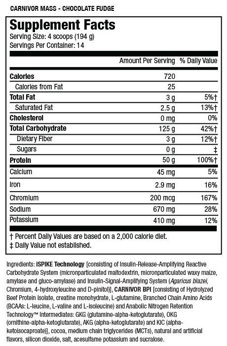 Super mass gainer dymatize tabla nutricional