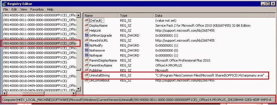 Uninstalling Line Of Sp 2 For Ms Office 2010 Can Be Found In Registry