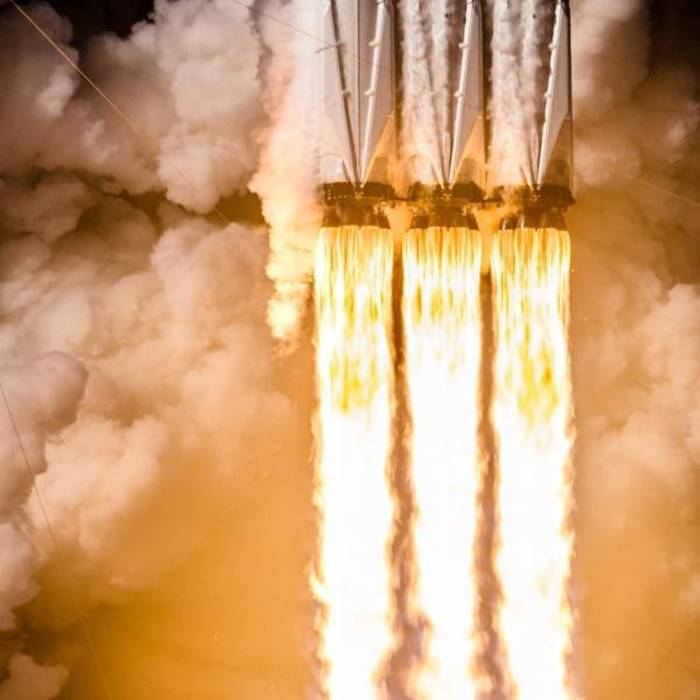 Flames from the Falcon Heavy Booster