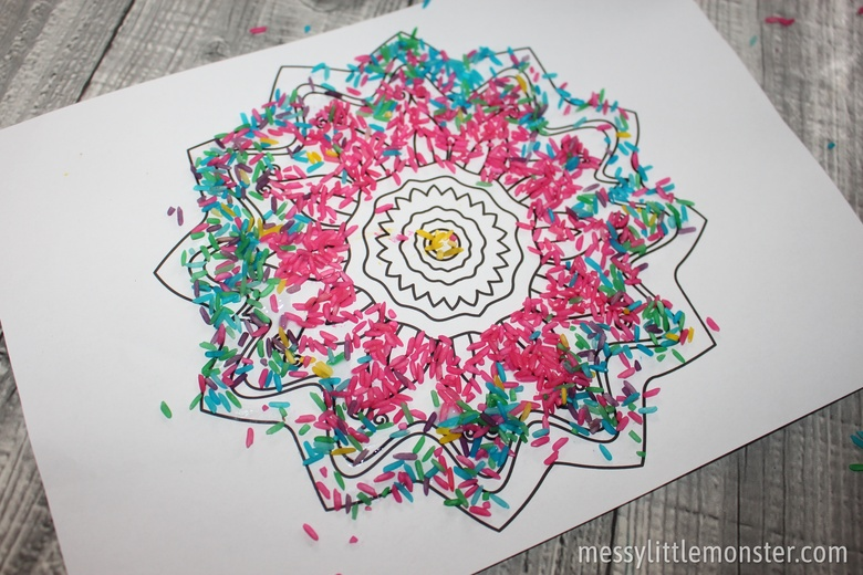Coloured rice Rangoli pattern craft for kids