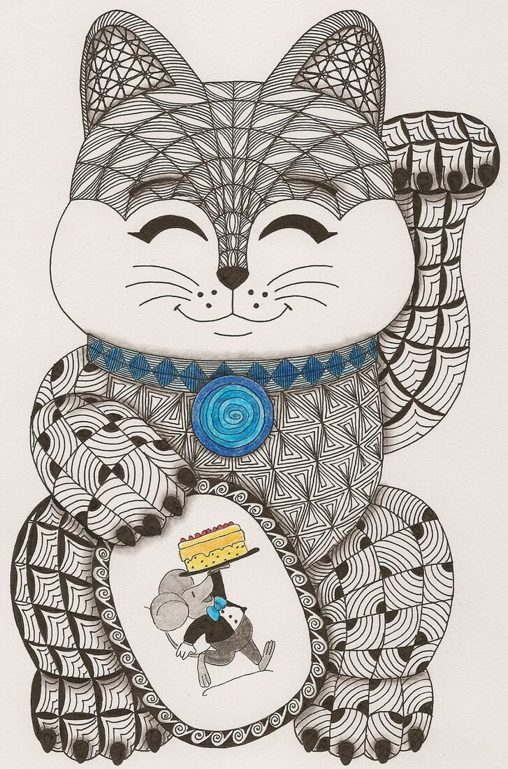 15-Neko-the-Cat-Adri-van-Garderen-Animals-Given-the-Zentangle-Treatment-www-designstack-co