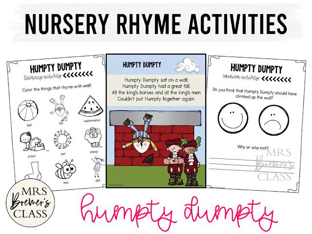 Nursery Rhyme activities for Kindergarten Humpty Dumpty