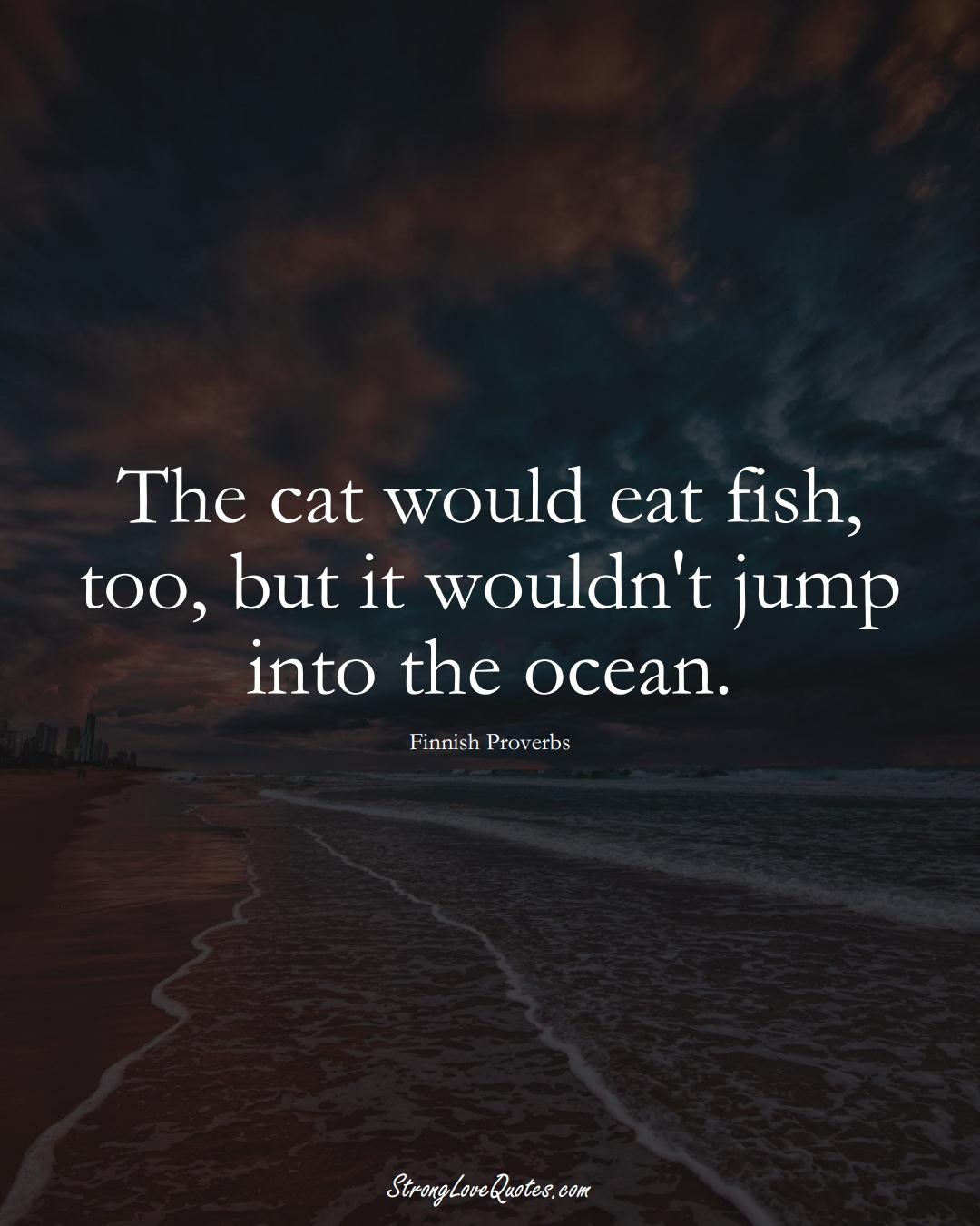The cat would eat fish, too, but it wouldn't jump into the ocean. (Finnish Sayings);  #EuropeanSayings