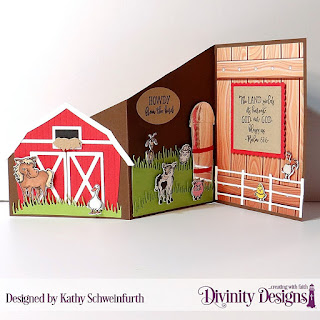 Stamp/Die Duos: Farm Friends, Stamp: Hogs & Kisses, Custom Dies:  Duo, Z Fold with Layers, Barn, Farm Fence, Grass Hill, Scalloped Squares, Squares, Pierced Ovals, Paper Collection: Weathered Wood