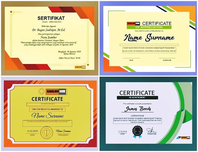 desain sertifikat piagam cdr