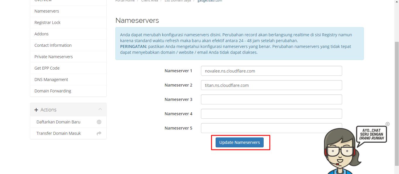 tahapan memasang cloudflare di blog - 6