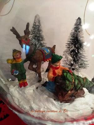 decorazione natalizia con palla di neve