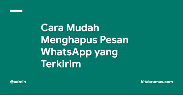 Cara Mudah Menghapus Pesan WhatsApp yang Terkirim